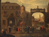 figures outside the city gate by cornelis de wael