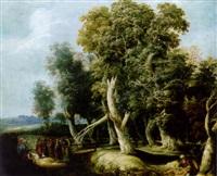 baumlandschaft, rechts unten der barmherzige samariter, links eine biblische szene by adriaen gael the younger