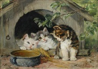 three kittens with a bowl of milk by julius adam (unattributable)