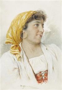 portrait d'une danseuse de tarantella à sorrento by agusto moriani