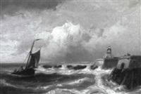 marinelandschaft mit heimkehrendem fischerboot by h. koekkoek
