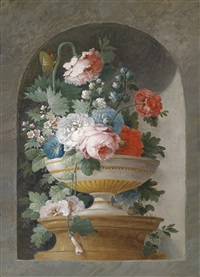 blumenstillleben (+ another; pair) by cornelis van spaendonck