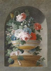 blumenstillleben (+ another; pair) by cornelis van spaendonck