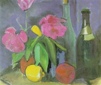 stilleben mit blumen und zitrone by edith auerbach
