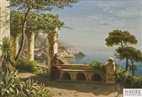 mönch auf der terrasse des kapuzinerklosters, im hintergrund die bucht von amalfi by marie ertl