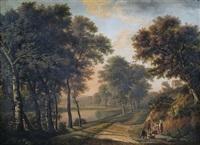 abendliche sommerlandschaft mit einer bauernfamilie am wegrand by maximilien lambert gelissen