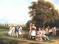 fête paysanne dans la campagne genevoise avec vue sur mont blanc by frédéric fregevize