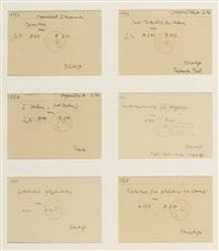 karteikarten (doppelblatt 2 nummern gewitter / zwei metallplastiken / 2 erden / kontrollzeichnung / filzwinkel / partitur...) (6 linierte karteikarten, in) by joseph beuys