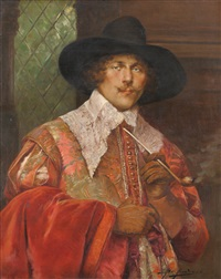 portrait of a cavalier wearing a red velvet cloak over his right arm by alex de andries