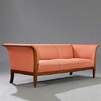 three seater sofa with mahogany frame by frits henningsen