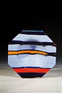 achtkantige schale klaus moje, 1983 mosaikglastechnik. aus vorgefertigten farbgl by klaus moje