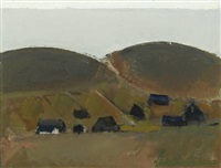 landscape with houses by jack kampmann