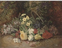 summer flowers in a wicker basket on a mossy bank by henry j. livens