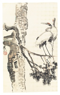 cranes on pine tree by xu beihong