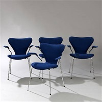 seven chair (model 3207) (set of 4 armchairs) by arne jacobsen