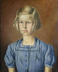 portrait of a young girl in a blue dress by thomas nash