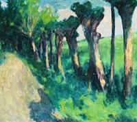 landevej med piletræer. ærø. 1928 by sigurd swane
