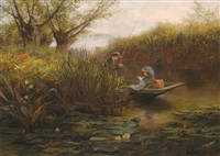river landscape with couple in a punt by james aumonier