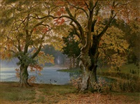 herbstlicher waldsee by richard johann christian fischer