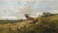 rotwild in herbstlicher landschaft by christoffer johann drathmann