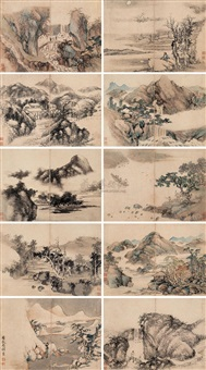 山水 (landscape) (album w/10 works) by li jingshi