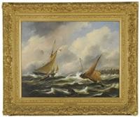boten op woliige zee by govert van emmerik