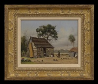 cabin scene with cotton field in distance by william aiken walker