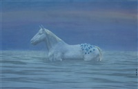 blue and white horse by xu lei