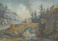 felslandschaft mit steinerner bogenbrücke und staffage by david alphonse de sandoz-rollin