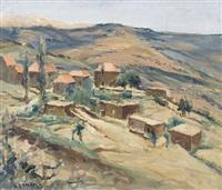 südliche hügellandschaft mit ortschaft by georges hanna sabbagh