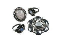 brooch (+ rings; set of 4) by mary gage