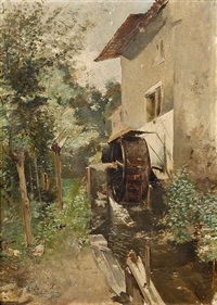 mühle in sommerlicher landschaft by paul-leon gagneau