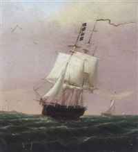 ship under sail in boston harbor by john sherburne blunt