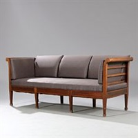 bench with eight legged frame of mahogany by frits henningsen