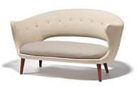 freestanding two-seater sofa and a pair of matching easy chairs with teak frame by finn juhl
