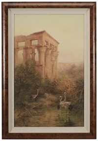 cranes by an egyptian temple, karnak by charles whymper
