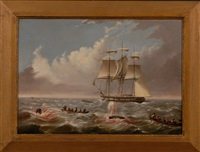 whalers, longboats and crews engaged in the pursuit of whales (2 works) by anglo-american school (19)