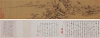 仿古山水卷 (emulation of ancient landscapes) (+ colophon, lrgr) by dong qichang