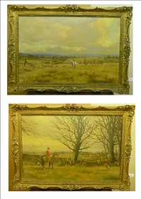 pendle forest and craven harriers hunt (with jock york of halton hall nr guisburn seated upon his hunter?)(+ pendle forest and craven harriers hunt in full cry; pair) by wilfred bailey