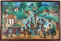 village life by the river by wilson bigaud