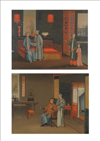 interior scene with chinese figures beside carved furniture (+ interior scene with an elderly chinese gentleman seated beside a table; pair) by anglo-chinese school (19)