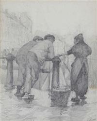 femme avec deux gamins du port by kurt peiser