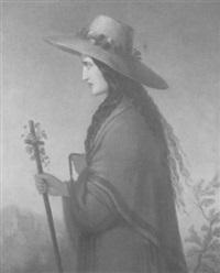 bildnis eines jungen mädchens im halbprofil mit strohhut by wilhelm pilgram