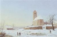 vinterlandskab med kirke by johann baptist weiss