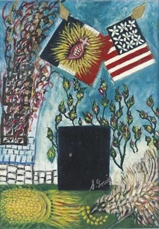 les drapeaux américains et français avec le sacré coeur by séraphine de senlis