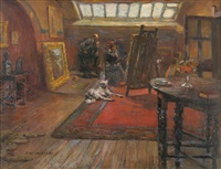 the artist's studio, with a lady and gentleman examining a picture on an easel by frederick william jackson