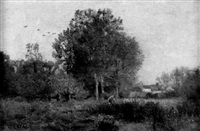 blick über eine wiesenlandschaft auf ein bauerndorf by georges de lafage-laujol