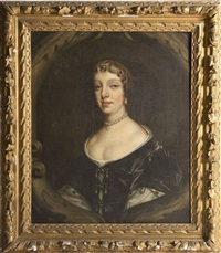 portrait of a lady wearing pearl eardrops and necklace by sir peter lely
