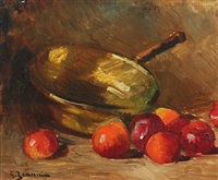 still life with apples and a brass pot by georges jeannin