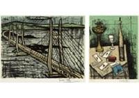 seto long-bridge and cable-stayed bridge, les trois as (set of 2) by bernard buffet